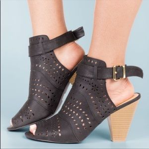 Black Perforated Cone Heel Peep Toe Slingback